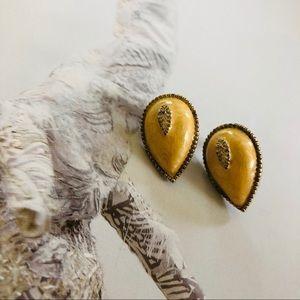 Vintage Gold & Stone Tear Drop Almond Earrings